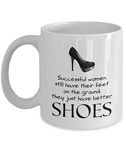 N\A Las Mujeres exitosas Tienen Mejores Zapatos - Taza de café de tacón Alto, Blanco