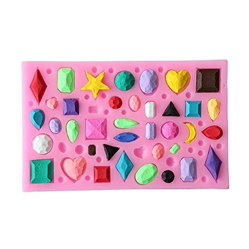 IBQ Molde Silicona Gema de Piedras Preciosas moldes con Forma de Joya decoración de Fondant Hecha a Mano azúcar Artesanal para Hornear D415