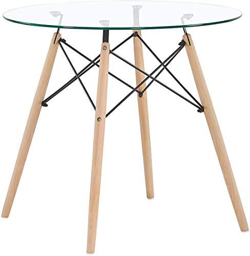 Goldfan - Mesa de comedor Eiffel redonda de cristal para cocina, mesa de café con patas de madera para sala de estar/comedor (vidrio templado)