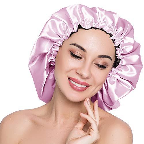 ELIHAIR Stain Bonnet Silky Sleep Cap Adjustable Satin Cap for Night Sleeping Hair Bonnet Reversible Double Layer X-Large Size Light Purple/Black