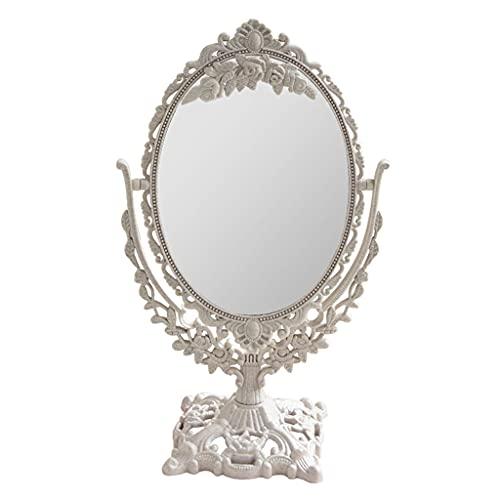 Baoblaze Espejo de Maquillaje de Escritorio Vintage, Espejo Ovalado cosmético Retro tocador de hogar Espejo Ovalado Giratorio Espejo de Pedestal Hueco Delicado