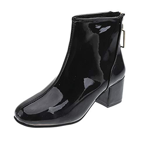 DOLDOA Stiefel Damen,Damenmode Round Toe Schuhe Stiefel Zurück Zipper Square High-Heeled Short Boots Stiefel mit rückseitigem Reißverschluss Schwarz, weiß, Rosa