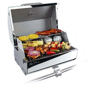 Camco Kuuma Premium Stainless Steel Mountable Gas Grill w/Regulator Compact Portable Size Perfect for Boats, Tailgating and More - Stow N Go 216