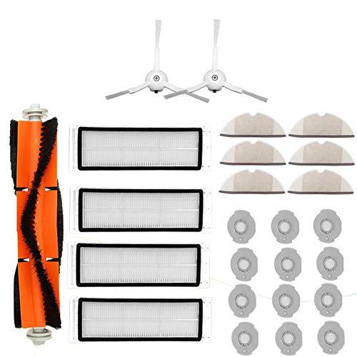 Original Zubehör für Xiaomi Saugroboter (25-Teilig), 1 * Hauptbürste + 2 * Dreieckseitenbürsten + 4 * Netzfilter + 6 * Reinigungstücher + 12 * Wasserkerne, Staubsauger-teile Ersatz für Xiaomi Mi Robot