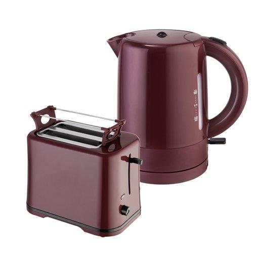 Efbe-Schott Frühstücksset TO 1080 + KA 1080 2-Scheiben-Toaster und Kaffeemaschine 1,25 L Weinrot-Bordeaux