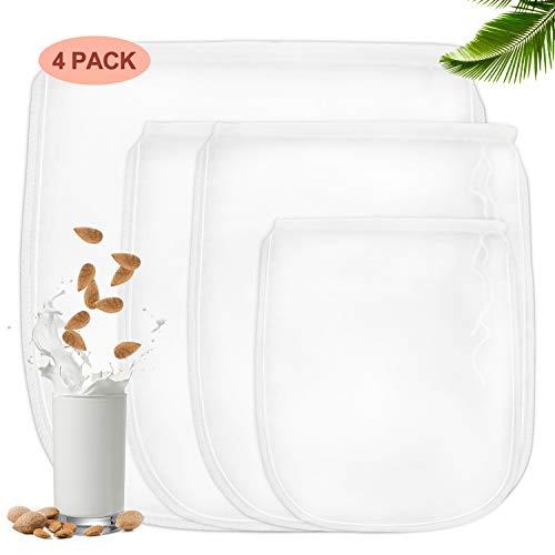 BALFER 4 Stück Nussmilchbeutel für vegane Nussmilch & Mandelmilch - Feinmaschiges Filtertuch, Seiher, Passiertuch (3 Größen)