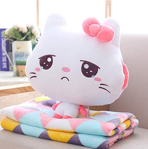 Emoji Cat Knuffel En Deken, Soft Knuffeldier Kat Kussen Kussen, Kerstcadeau Pop Voor Kinderen Kinderen Baby 35Cm (Cry)