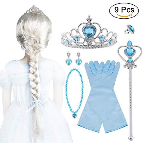 Vicloon 9Pcs Upgrade Princesa Vestir Accesorios - Peluca/Corona/Sceptre/Anillo /Pendientes/Collar/Guantes (B) para Carnaval
