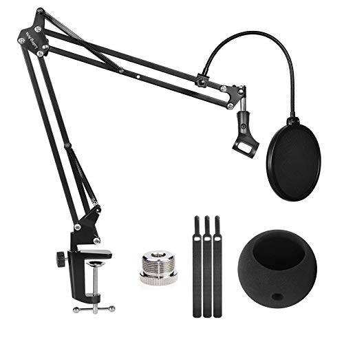 Desktop Microphone Stand with Mic Pop Filter Shock Mount, Adjustable Mic Boom Scissor Arm Stands for Blue Yeti Snowball,Radio Broadcasting and Recording …