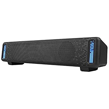 Computer Speakers PHISSION USB Powered Sound Bar Dual Speakers with LED Light for Computer Smartphone Desktop Laptop PC TV Aux Input Black