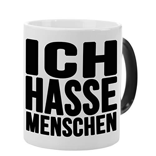 Tasse – Ich hasse Menschen (Schwarz): lustige Kaffeetasse mit Spruch – Farbwechseltasse mit Thermoeffekt – bedruckter Kaffeebecher für Kollegen, Freunde und Menschenhasser