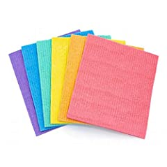 DISHES WASHING GOES EASY - The Swedish dishcloths perfectly combine the benefits of soft traditional dish towels and super absorbency of cellulose sponge. It's flexible like a cloth when wet and can clean any surface or tight spot. And you can wring ...