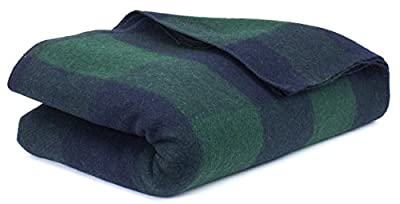 Bunkhouse Plaid Wool Blankets #NW-WBASBHP 80 x 62 Inches Twin Size - Machine Washable Green/Blue