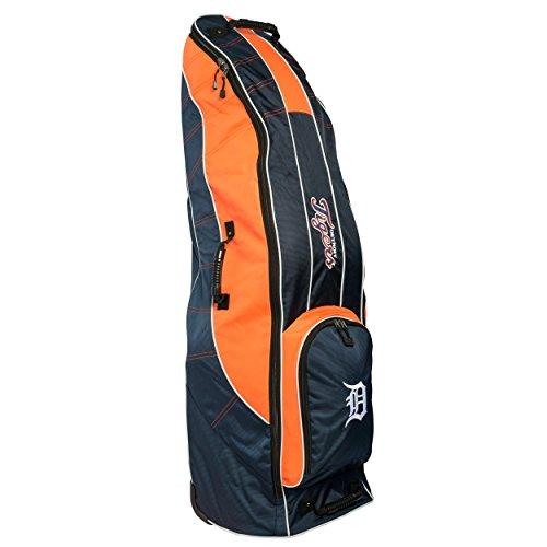 Team Golf MLB Detroit Tigers Travel Golf Bag, High-Impact Plastic Wheelbase, Smooth & Quite Transport, Includes Built-in Shoe Bag, Internal Padding, ID Card Holder