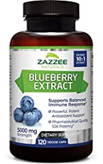 OUTSTANDING VALUE: Our Blueberry Extract contains 5000 mg strength per capsule AND 120 capsules per bottle – an amazing value! A single bottle contains a 4 month supply. Compare this to other leading brands that require 2 capsules per serving, are no...