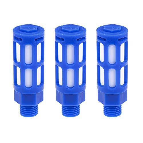 sourcing map 3pcs Silenciador neumático Plástico de línea de aire de escape silencioso mayor 1/4 PT Azul