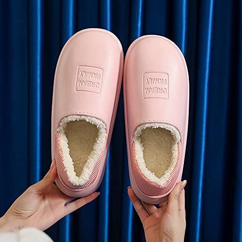 DHYF Pantuflas de algodón cómodas y cálidas,Zapatillas de algodón cálidas para Exteriores, Zapatillas de Felpa Impermeables.-Rosado_35-36,Pantuflas de algodón Suave y Antideslizante