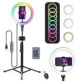 OneAmg Aro de Luz para Movil TIK Tok, 10.2' RGB Anillo de luz LED con Trípode Soporte, 15 Colores RGB y 3 Modos Normales y 10 de Brillo, para Selfie Ring Light, Maquillaje,Youtube