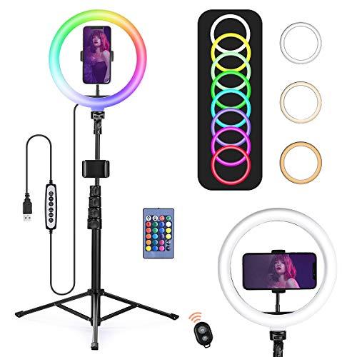 OneAmg RGB Ringlicht stativ, 10 Zoll LED ringlicht mit stativ Handy-Halterung und Fernbedienung, 15 RGB-Farbmodi&10 Helligkeitsstufen USB-betrieben, Ringlicht für Live-Stream/Makeup/YouTube/Video.