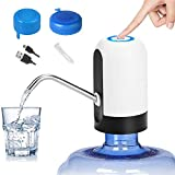 Water Bottle Pump 5 Gallon, CHIVENIDO Electric Drinking Water Pump for 5 Gallon Bottle Water Jug Dispenser Smart USB Rechargeable Bottle Water Pump with Non Spill Cap for Home Kitchen Office (White)