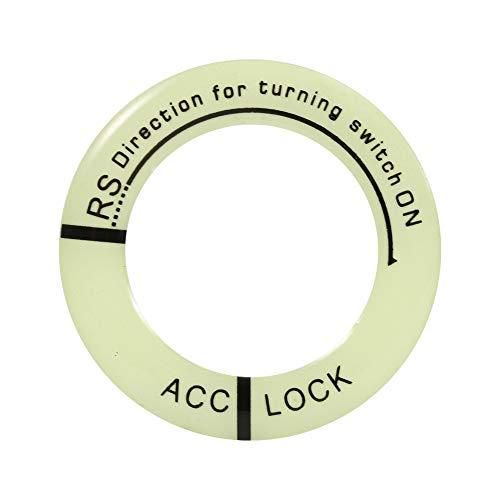 Qii lu Premium kwaliteit contactslot decoratie ring, auto motorfiets oplichtend contactslot sleutelhanger ring afdekking trim universeel default Zwarte letter