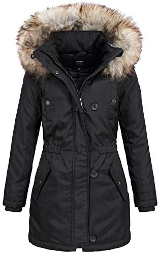 ONLY Damen Parka Winterjacke Kurzmantel Kapuzenjacke Wintermantel (42 (Herstellergröße: XL), Black)