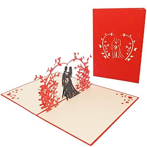Favour Pop Up Glückwunschkarte zur Hochzeit. Ein filigranes Kunstwerk, dass beim Öffnen mit einem Hochzeitspaar unter Rosenstrauch überrascht. TW016