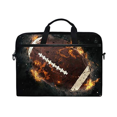 iRoad - Bolsa de lona para ordenador portátil, diseño de pelota de rugby, pintura al fuego, con correa para el hombro, bolsa de ordenador, para mujeres, hombres, negocios, 14-15 pulgadas