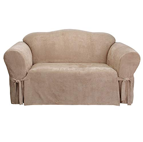 SURE FIT Soft Suede Box Cushion Loveseat One Piece Slipcover, Relaxed Fit, Polyester, Machine Washable, Taupe Color