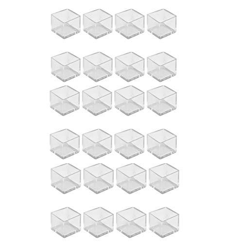 Mogokoyo Trasparente/Nero 24pcs PVC Piedini Protettivi per Gambe di Tavoli Mobili e Sedie Gomma Copertine Tappi Cappellini Piedini Quadro per 25mm-Trasparente