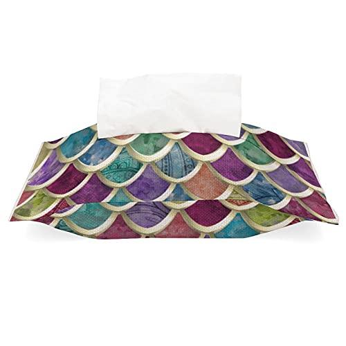 Soporte de caja de pañuelos de lino de algodón, divertido patrón de escala de peces de acuarela extraíble dispensador de pañuelos para oficina, sala de estar, encimera de tocador de baño