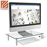 PUTORSEN® Monitor Stand Riser for Computer, Laptop, Desk, Printer, 15.7 x 9.4 Inch Tempered glass