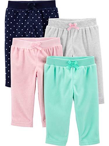 Simple Joys by Carter's 4-Pack Fleece Pants Pantalones, Rosa/Verde Menta, Corazones/Lunares, 0-3 Meses, Pack de 4