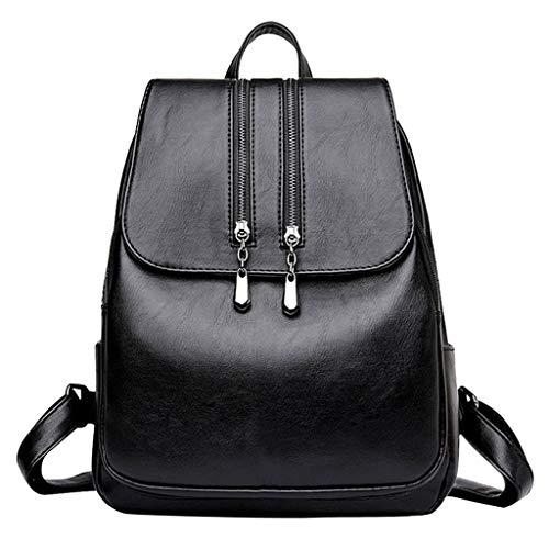 2019新品 ハンドバッグショルダーバッグ シンプル女性旅行バックパックスクールバッグコンピュータバッグショルダーバッグ多機能バッグ (黒)