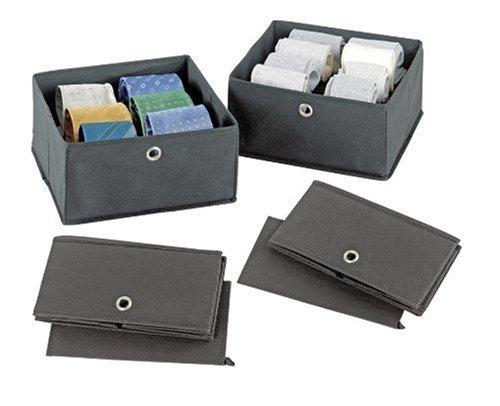WENKO 4260030100 Schubladenorganizer Libertà - zusammenfaltbar, Polypropylen, 28 x 13 x 28 cm, Grau, 2er Set