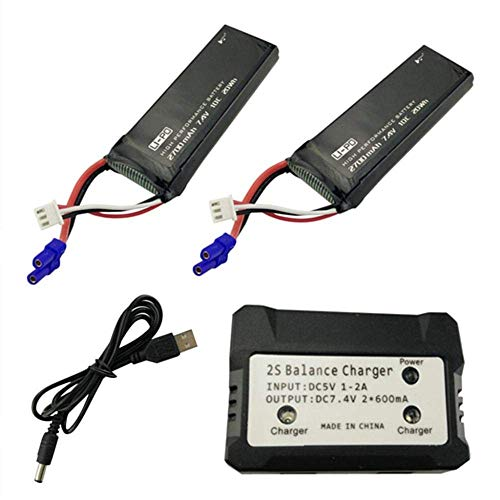 GzxLaY Batteria di Backup ad Alte Prestazioni 2PCS 7.4V 2700mah Batteria al Litio con 2 in 1 per Hubsan X4 H501S Parti di Ricambio per elicotteri telecomandati