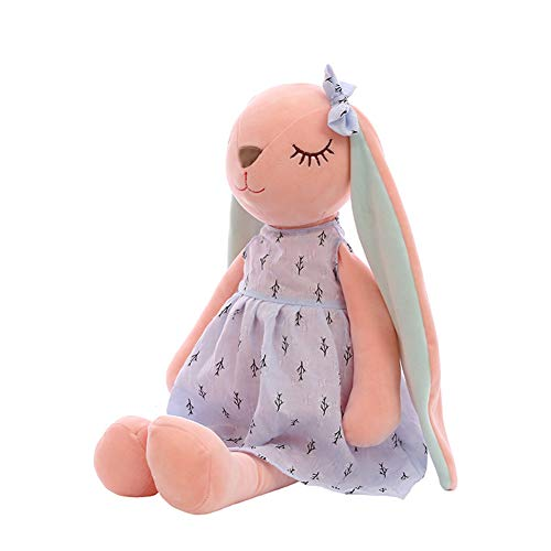 SyiEbdz - Muñeca de conejo con orejas largas, peluche, juguete suave