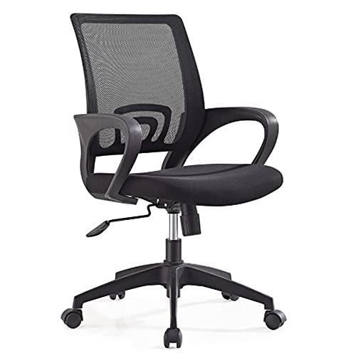 Trintion Bürostuhl Drehstuhl mit Glatten Rollen Ergonomischer Schreibtischstuhl Drehstuhl Verstellbarer Computerstuhl mit Armlehne Schwarz