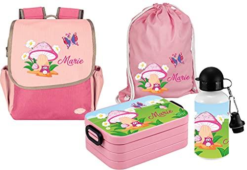 Mein Zwergenland Set 5 Kindergartenrucksack mit Brotdose, Turnbeutel und Trinkflasche Happy Knirps NEXT mit Name Eule Pilz, 4-teilig, Pink