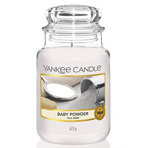 Yankee candle 1122150E Baby Powder-Candela profumata, Grande Vaso (10.7 x 16.8 cm), Bianco