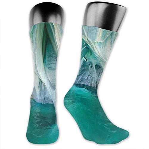 Moruolin Compression High Socks,Natural Marble Cave At European Mediterranean Lake Geologic Eroded Artwork Photo,Women and Men For Running,Athletic,Hiking,Travel,Flight