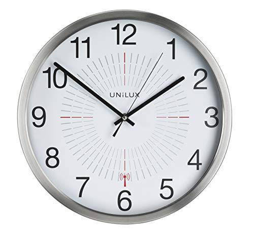 UNILUX 400094566 große Funk-Wanduhr Outdoor 35,5 cm grau für drinnen- und draußen deutsche Präzision Quarzwerk Analoge Uhr fürden Außenbereich
