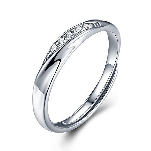 純銀製指輪 リングレディース 指輪レディース キラキラ 結婚指輪 婚約指輪 フリーサイズ (ホワイト)