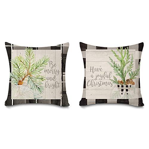 Faromily - Juego de 2 fundas de almohada con diseño de búfalo de Navidad, diseño vintage de hojas de madera, diseño de florero con texto 'Be Merry and Bright