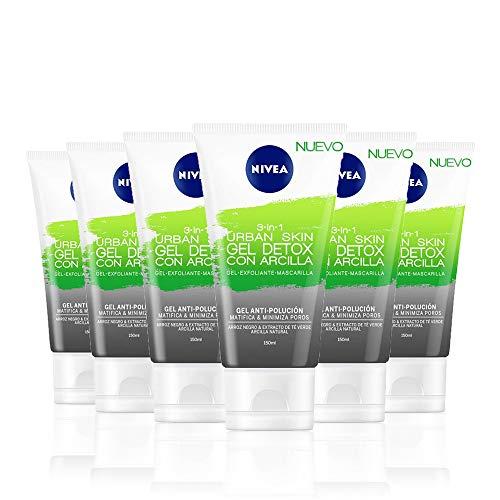 NIVEA Urban Skin Gel Detox con Arcilla 3 en 1 en pack de 6 (6 x 150 ml), gel limpiador facial, exfoliante facial, mascarilla facial antipolución