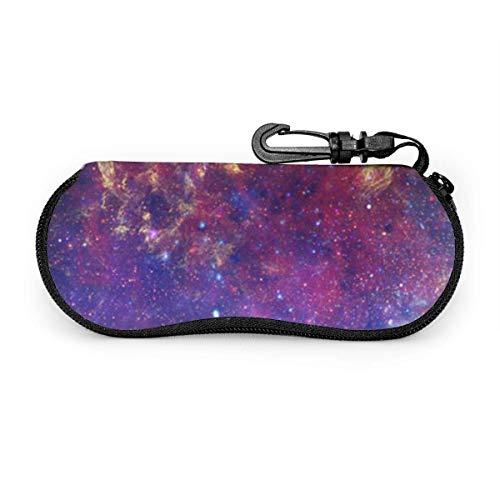 Gafas de sol Galaxy Space moradas con hebilla de bloqueo Bolsa suave Estuche para gafas con cremallera de tela de buceo ultraligero