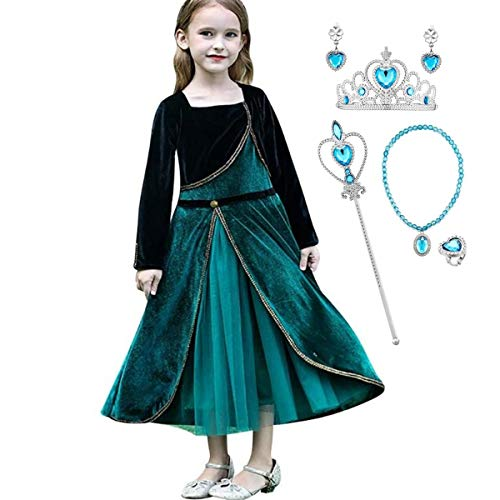Kosplay Disfraz de Princesa Anna para nias Reino de Hielo Vestidos de Carnaval Fiesta Halloween Cosplay Navidad Fancy Dress Up Costume 3-11 Aos