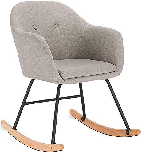 Mecedora con una silla tapizada cómoda, sillón sillón sillón reclinable hecha de lino,Cream