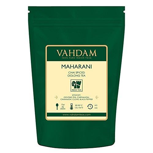 VAHDAM, té Maharani Chai Oolong (50 tazas) | ESPECIAS 100% NATURALES | Masala Chai té de hojas sueltas | Cardamomo, Canela, Clavo, Pimienta Negra | Té chai con especias | 100 gramos