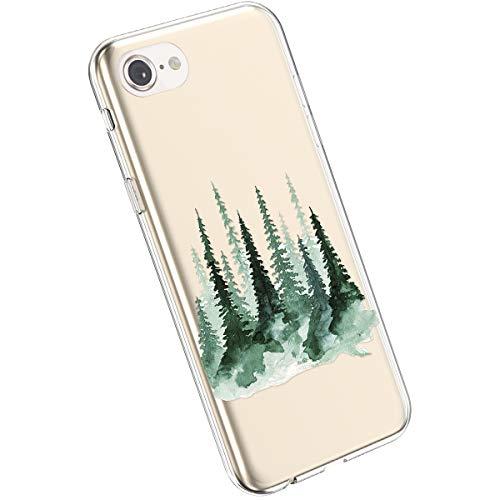 Ysimee Compatible avec iPhone 7/8 Coque Souple Clair TPU Silicone Housse Transparente Design avec Motif Peinture Fleurs Coque Ultra Fine Flexible Anti-Chocs Etui de Protection,Fleur#10